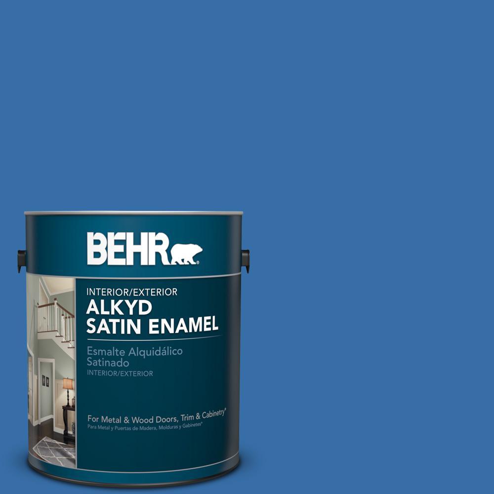 1 gal. #P520-6 Mega Blue Satin Enamel Alkyd Interior/Exterior Paint