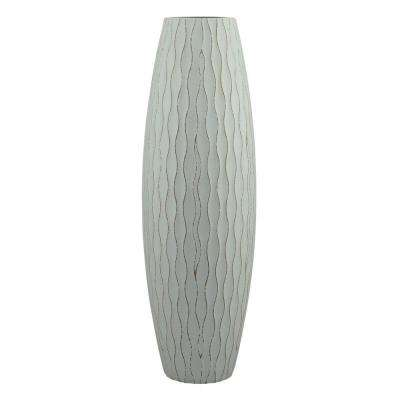 16 in. H Weathered Wood Decorative Vase in Pale Ocean