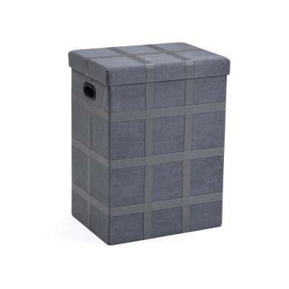Grey Storage Hamper Foldable Suede