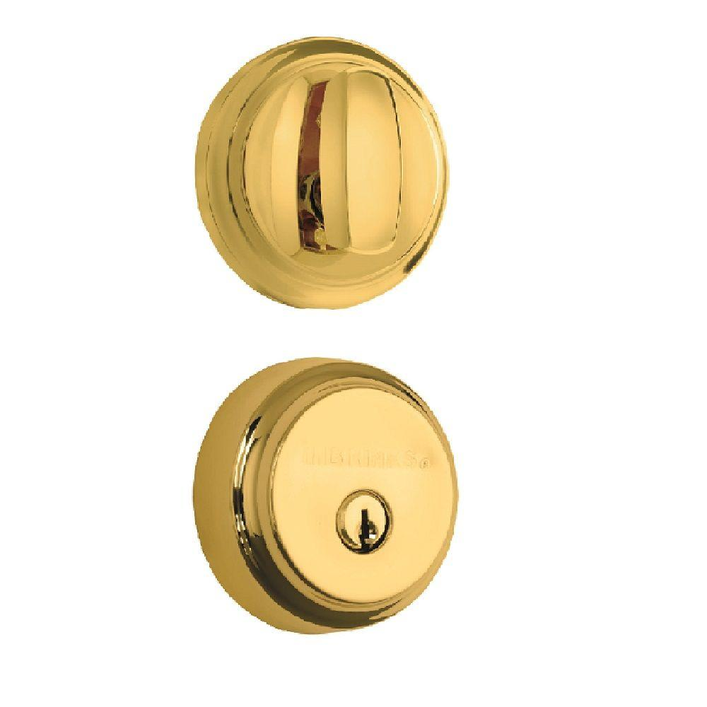 Almarrion Single Cylinder Polished Brass Push Pull Rotate Deadbolt