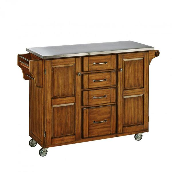 Home Styles Create-a-Cart Warm Oak Kitchen Cart With Stainless Top 9100-1062
