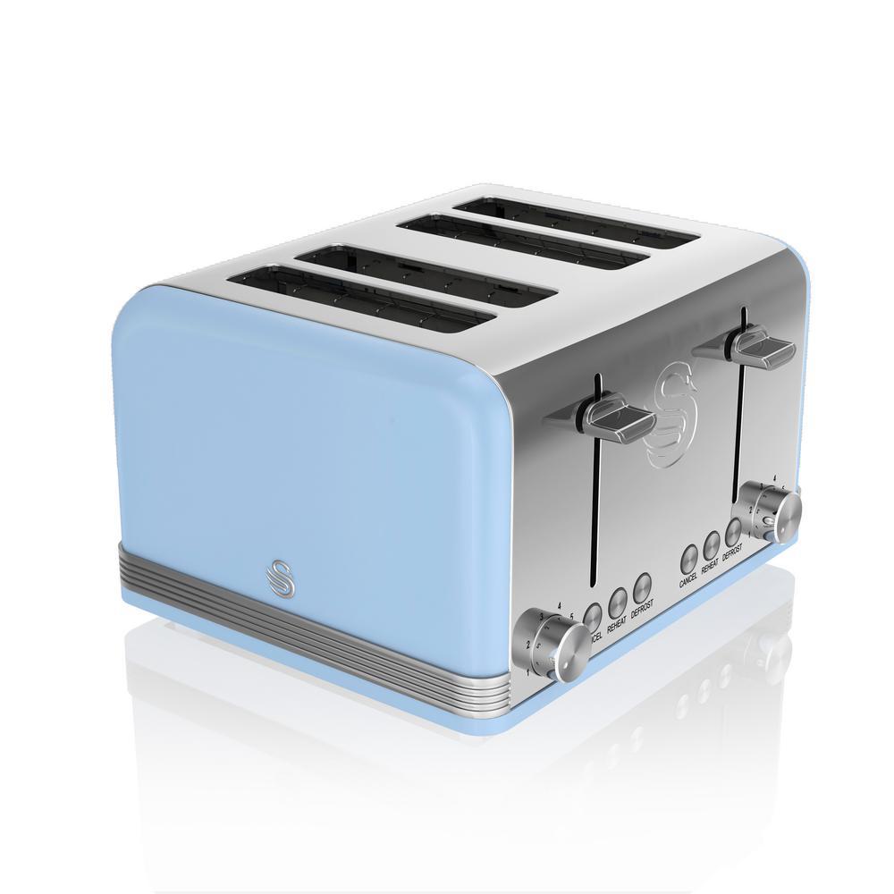 Swan-Retro 4-Slice Blue Toaster