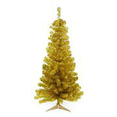 4 ft. x 24 in. Unlit Gold Tinsel Medium Artificial Christmas Tree