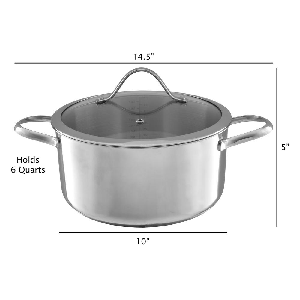 6 Qt Covered Stock Pot Cooking Kitchenware Home Kitchen Saucepan Cooker Cookware