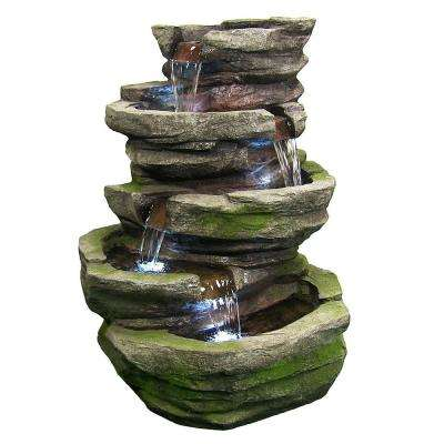 31 in. Lighted Cobblestone Waterfall Fountain with LED Lights