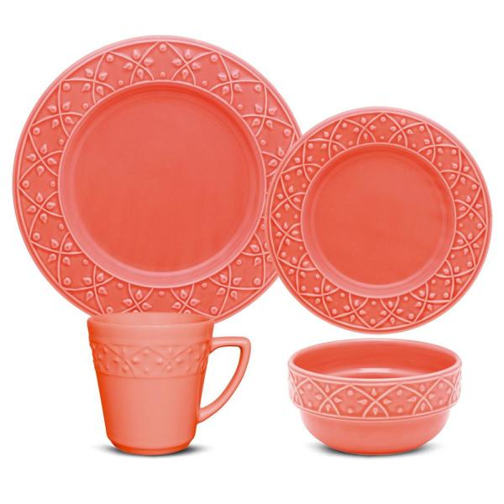 Mendi Coral 32-Piece Casual Coral Earthenware Dinnerware Set (Service for 8)