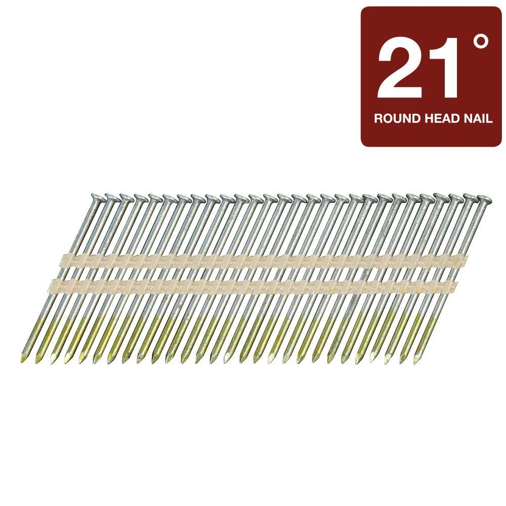 Hitachi 2-1/8 in. x 0.148 in. Full Round-Head Smooth Shank Brite Basic Plastic Strip Framing Nails (4,000-Pack)
