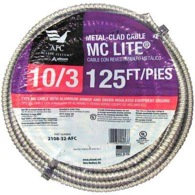 10/3 x 125 ft. Solid MC Lite Cable