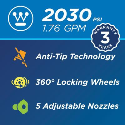 ePX 2030 PSI 1.76 GPM Electric Pressure Washer with Anti-Tipping Technology