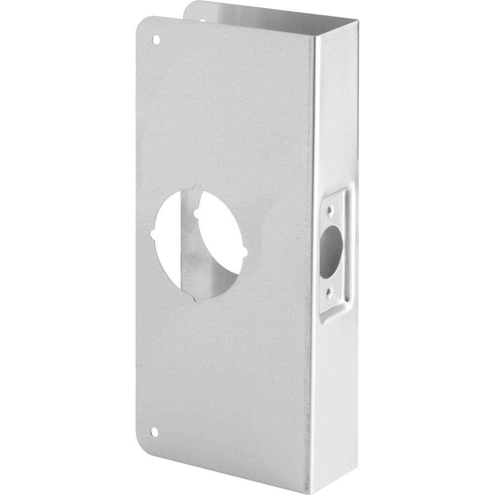 Prime-Line 1-3/4 in. x 9 in. Thick Solid Brass Lock and Door Reinforcer 2-1/8 in. Single Bore 2-3/8 in. Backset