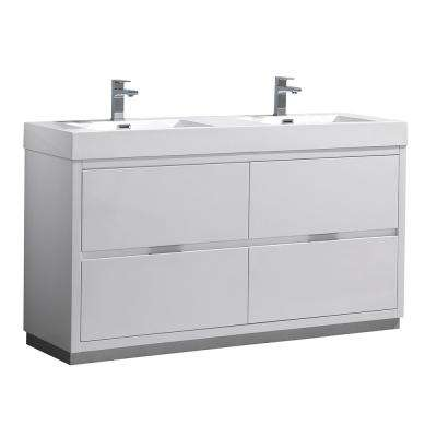 Valencia 60 in. W Bathroom Vanity in Glossy White with Acrylic Vanity Top in White