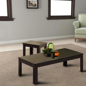 Benjara Brown Sleek Contemporary 2-End Table with 1 Coffee ...