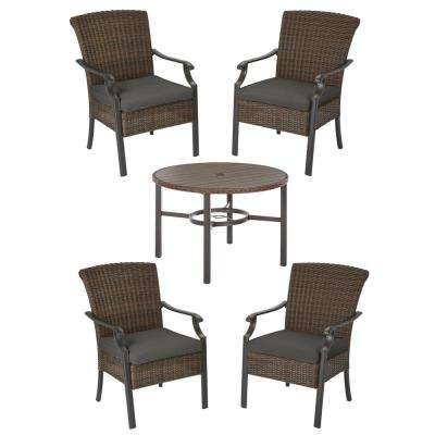 Harper Creek Brown 5-Piece Steel Outdoor Patio Dining Set with CushionGuard Graphite Dark Gray Cushions