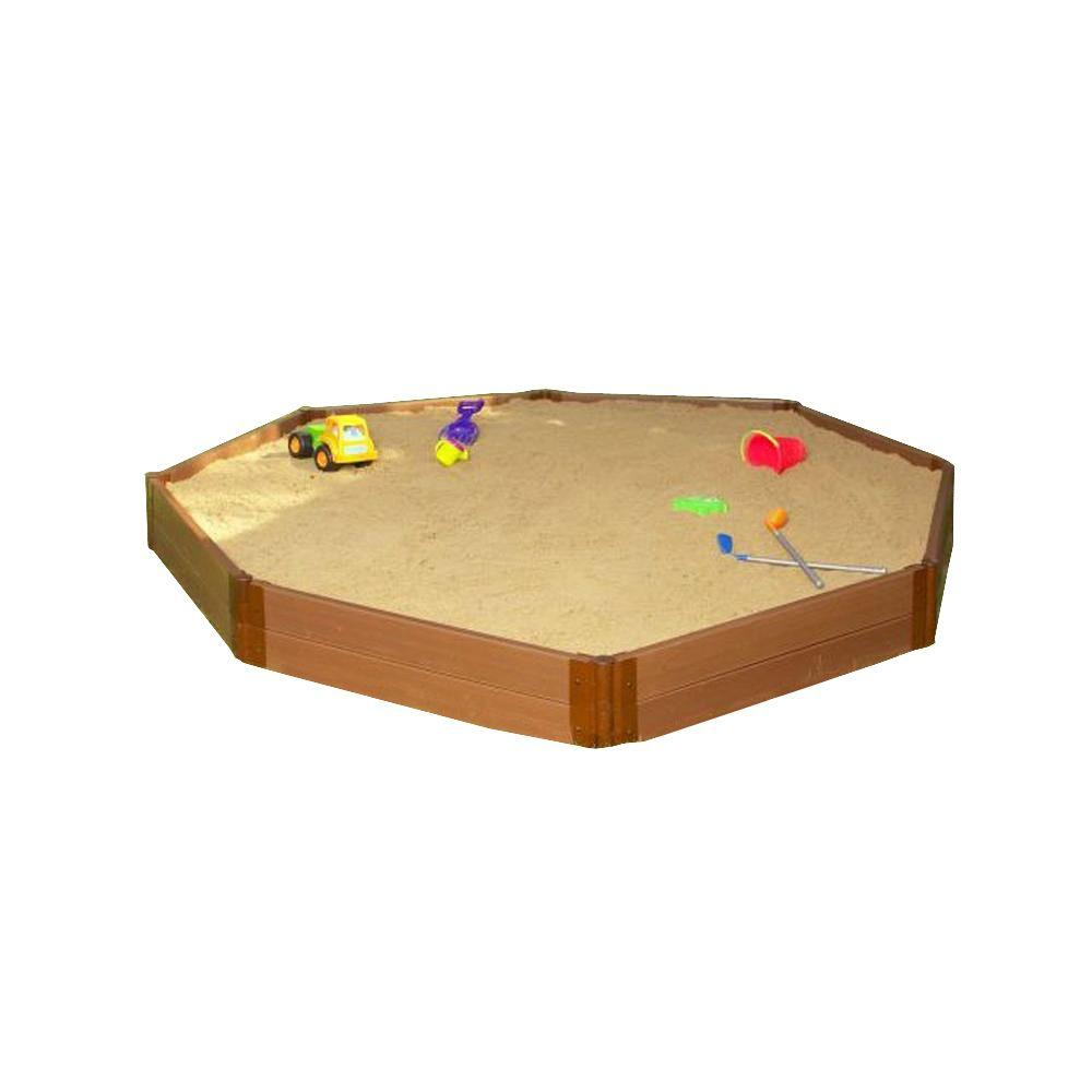 Frame It All One Inch Series 10 ft. x 10 ft. x 11 in. Composite Octagon Sandbox Kit