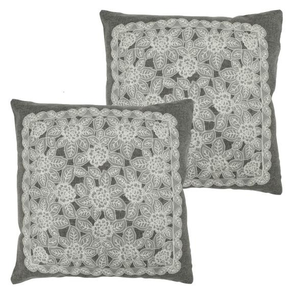 Gretta Grey Standard Pillow Cover (Set of 2)