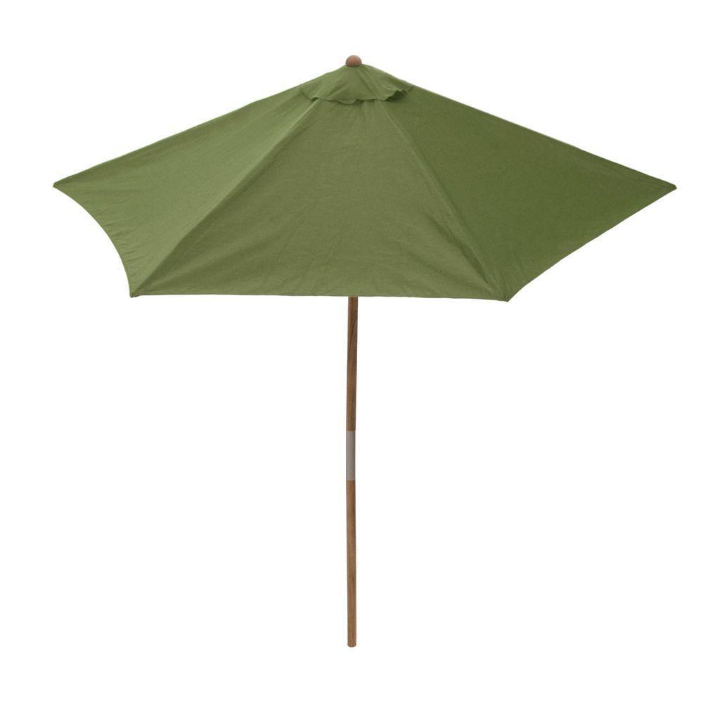 Hampton Bay 9 ft. Teak Patio Umbrella in Sunbrella Spectrum Cilantro-DISCONTINUED