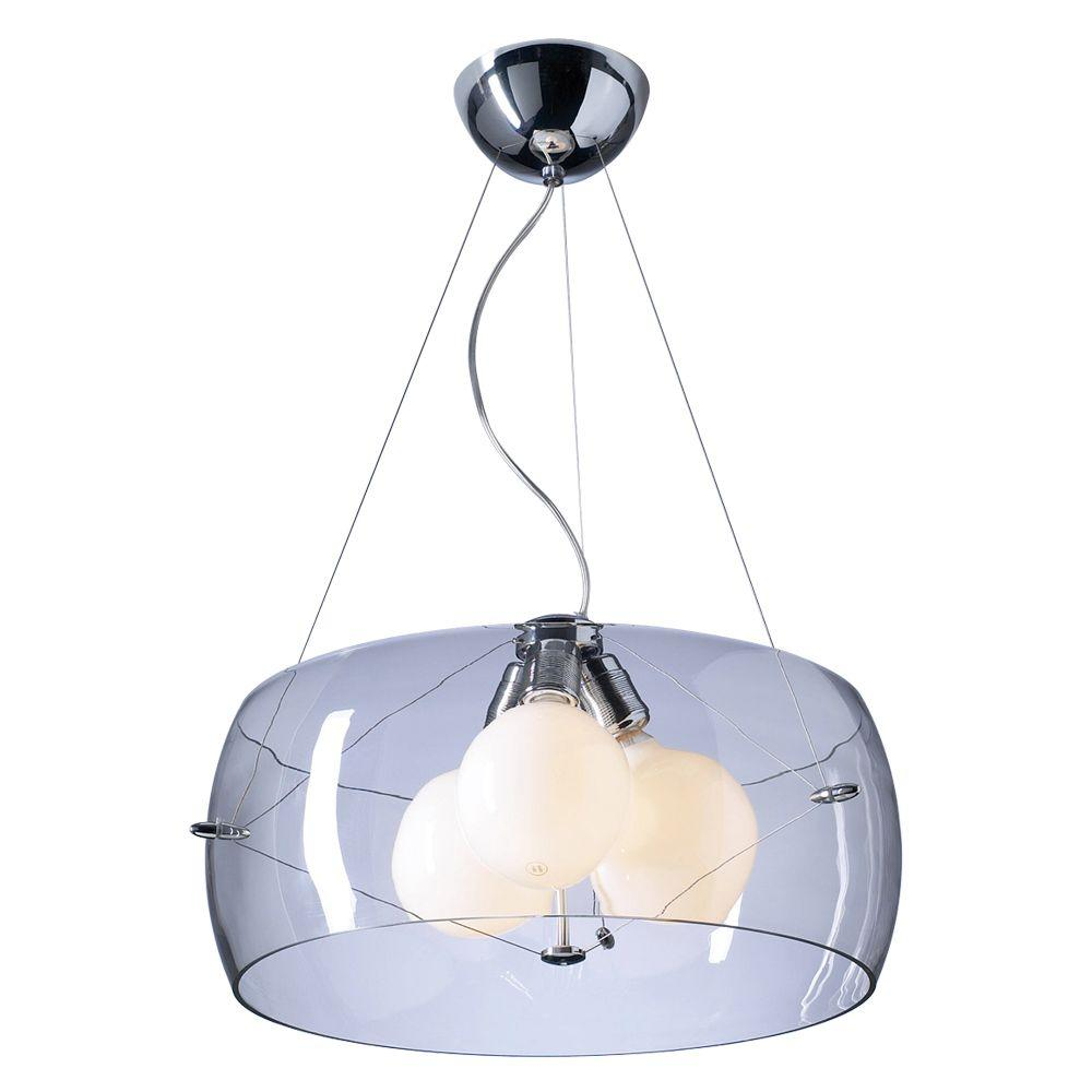 3-Light Polished Chrome Pendant with Clear Glass