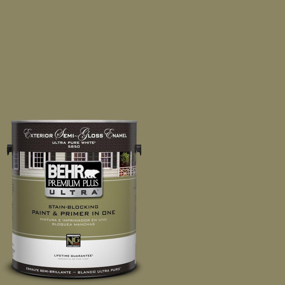 BEHR Premium Plus Ultra 1-Gal. #UL200-19 Oregano Spice Semi-Gloss Enamel Exterior Paint