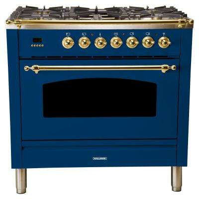 36 in. 3.55 cu. ft. Single Oven Dual Fuel Italian Range with True Convection, 5 Burners, Griddle, Brass Trim in Blue