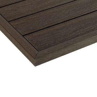 1/6 ft. x 13.95 in. Quick Deck Composite Deck Tile Outside  End Corner Fascia in Spanish Walnut (2-Piece/Box)