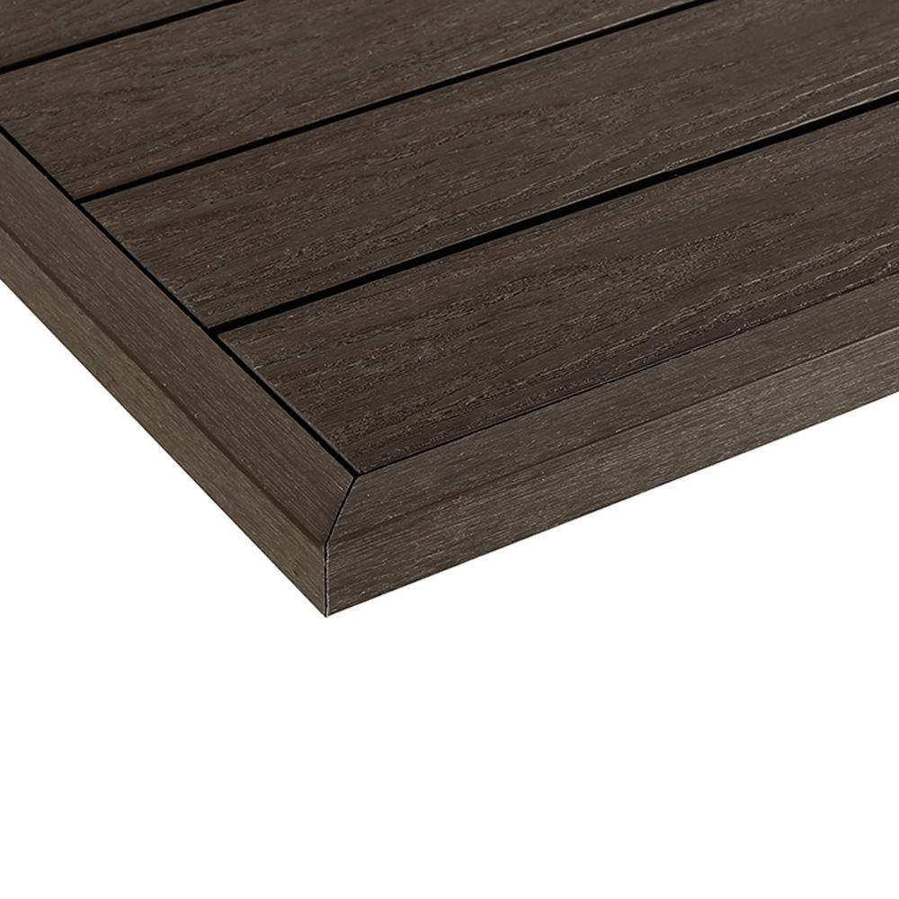 1/12 ft. x 1 ft. Quick Deck Composite Deck Tile Outside Corner Fascia in Spanish Walnut (2-Pieces/Box)