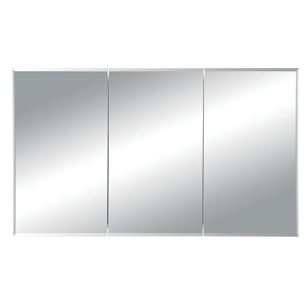 Horizon 48 in. W x 28-1/4 in. H x 5 in. D Frameless Tri-View Recessed Bathroom Medicine Cabinet in White