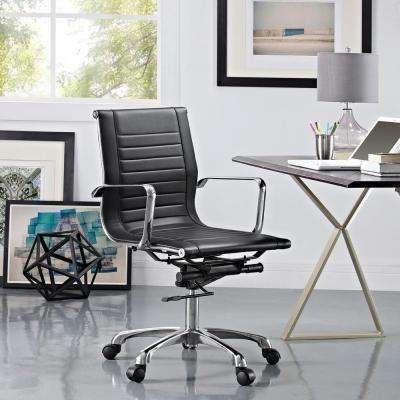 Runway Mid Back Fabric Office Chair in Black