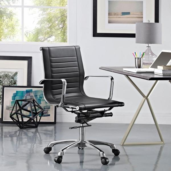 MODWAY Runway Mid Back Fabric Office Chair in Black EEI-1527-BLK
