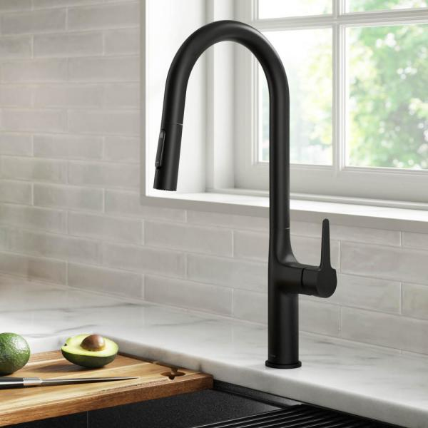 Kraus Oletto Single Handle Pull Down Sprayer Kitchen Faucet In Matte Black Kpf 3101mb The Home Depot