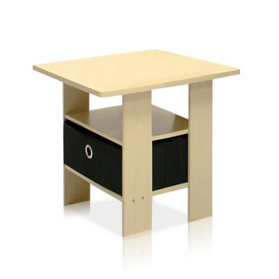 Steam Beech and Black Storage End Table