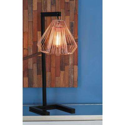 26 in. Modern Iron Wire Bell Table Lamp in Rose Gold