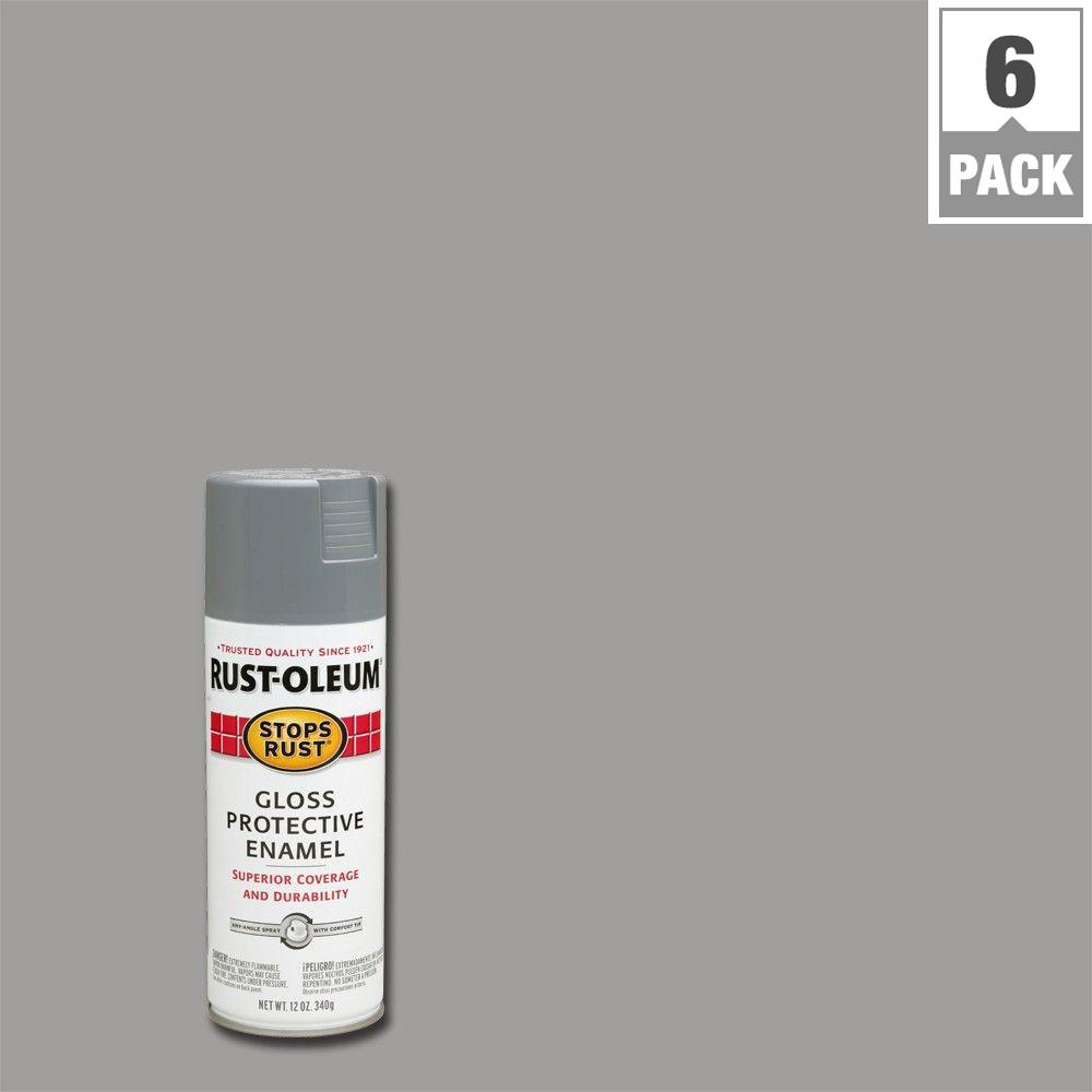 12 oz. Gloss Pewter Gray Protective Enamel Spray Paint (6-Pack)