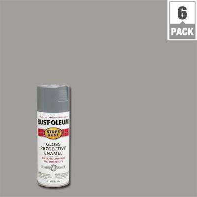Protective Enamel Gloss Pewter Gray Spray Paint 6 Pack