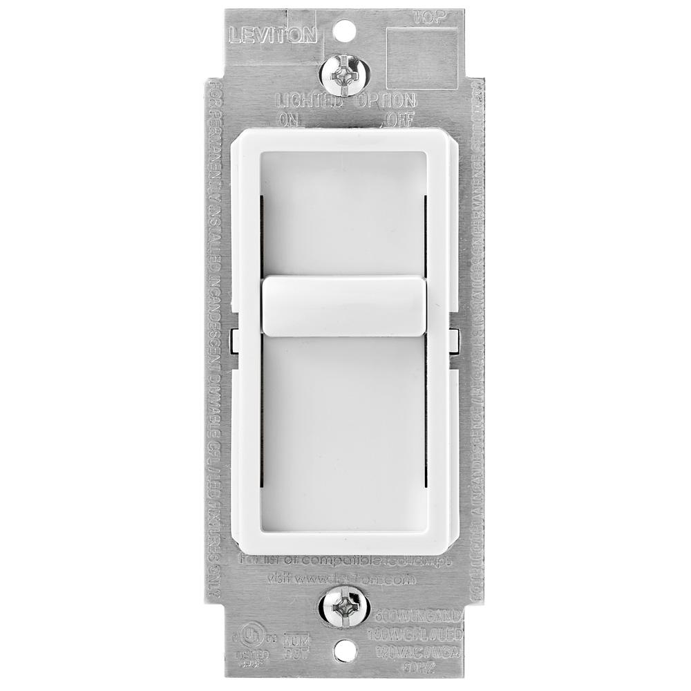 Dimmers dimmers switches outlets the home depot decora sureslide universal 150w ledcfl incandescent slide to off dimmer white sciox Choice Image