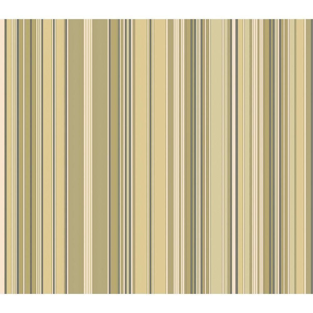 The Wallpaper Company 8 in. x 10 in. Green Metallic Stripe Wallpaper Sample