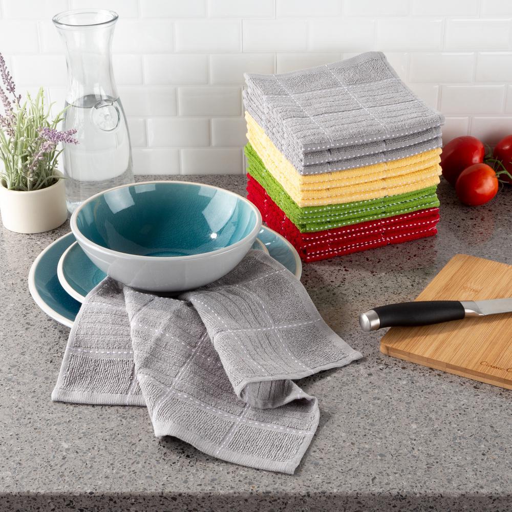 Multi-Color Checked Weave Cotton Kitchen Dish Cloth Set (16-Pieces)
