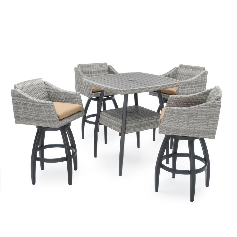 Cannes 5-Piece Wicker Outdoor Bar Height Dining Set with Sunbrella Maxim Beige Cushions
