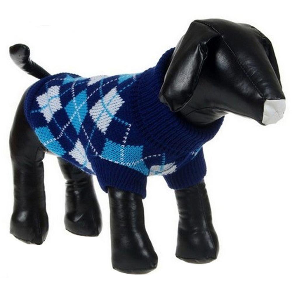 Medium Black/Blue Argyle Knitted Ribbed Fashion Dog Sweater