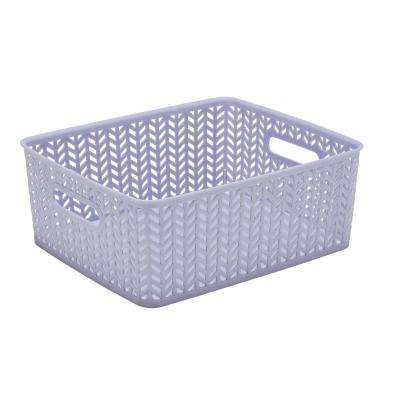 Lilac Herringbone Medium Storage Tote