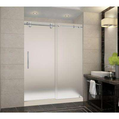 Langham 60 in. x 32 in. x 77.5 in. Frameless Sliding Shower Door with Frosted in Stainless Steel with Right Base
