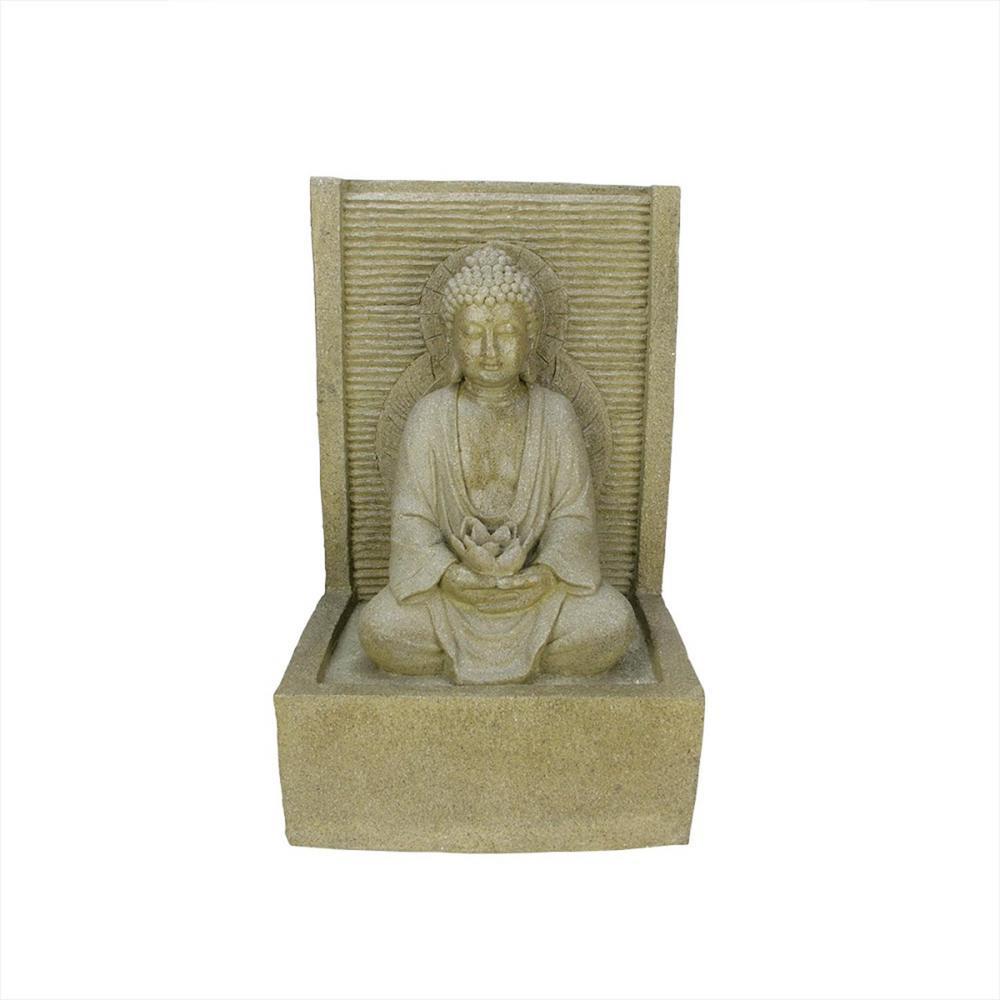 23 in. LED Praying Buddha Water Fountain