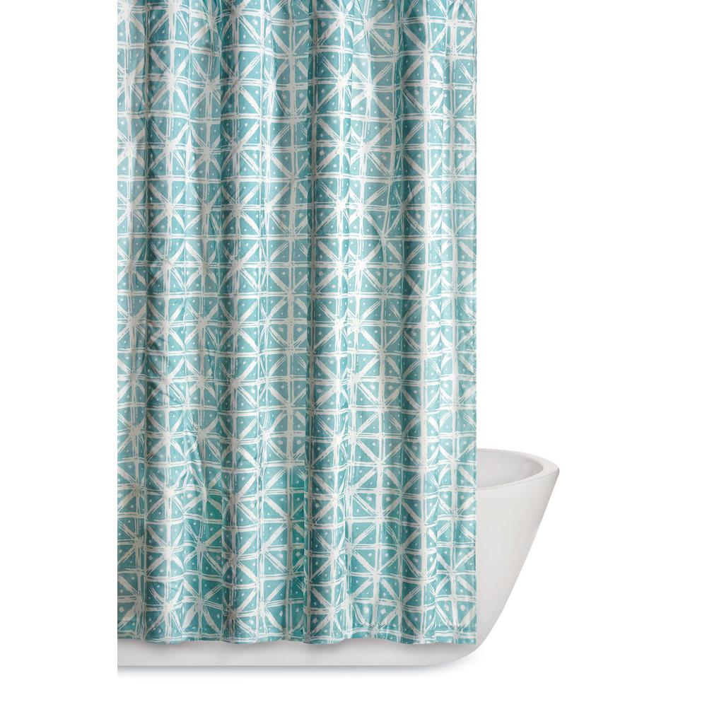 Truly Soft Celine 72 In Teal Grey Shower Curtain Sc2217tg