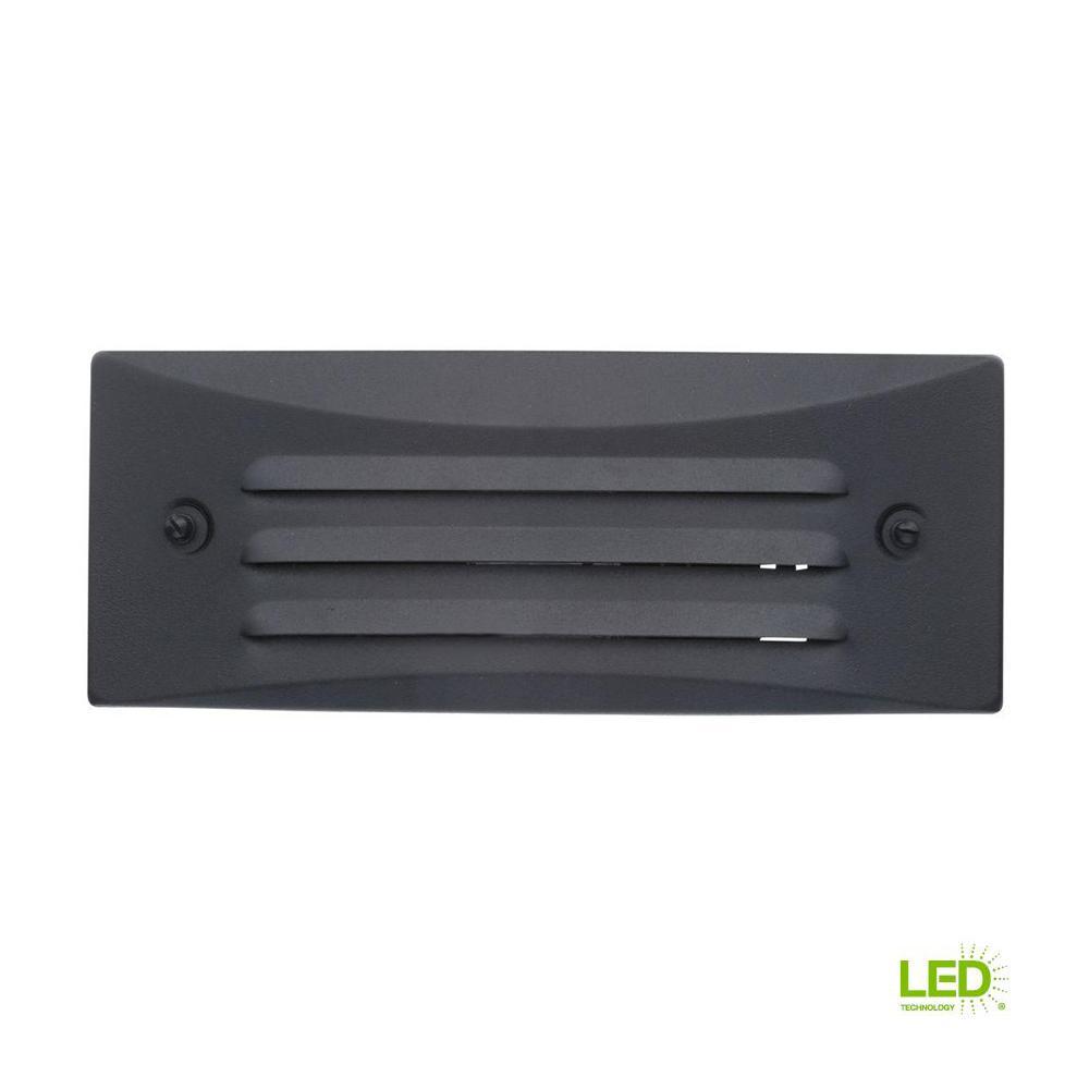 Low-Voltage Black Outdoor Integrated LED Full Brick Deck or Step Light