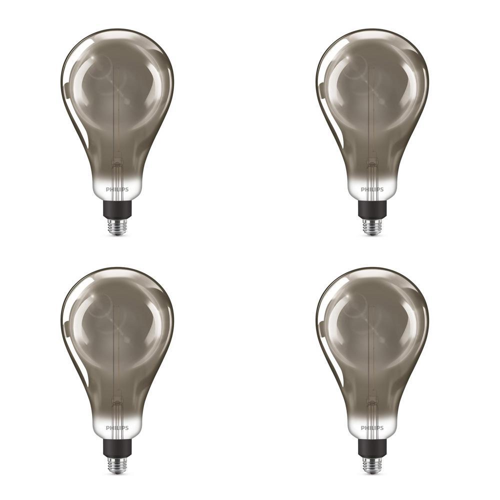 25-Watt Equivalent A50 Dimmable Modern Glass Edison LED Large Light Bulb Cool White (4000K) (4-Pack)