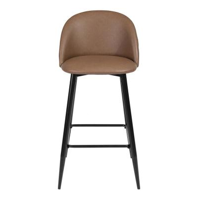 PU Leather Brown Barstool Seat Side Chairs Steel Legs Kitchen Bar (Set of 2)