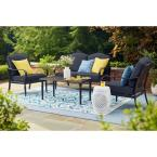 Laurel Oaks 4-Piece Brown Steel Outdoor Patio Conversation Seating Set with CushionGuard Sky Blue Cushions