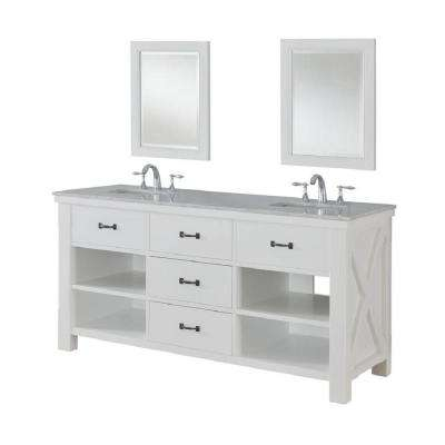 Xtraordinary Spa 70 in. Double Vanity in Pearl White with Marble Vanity Top in Carrara White and Mirrors