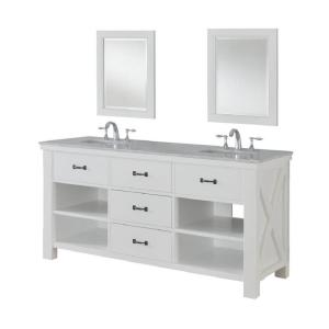 Direct vanity sink Xtraordinary Spa 70 inch Double Vanity in Pearl White with Marble Vanity Top in Carrara White and... by Direct vanity sink