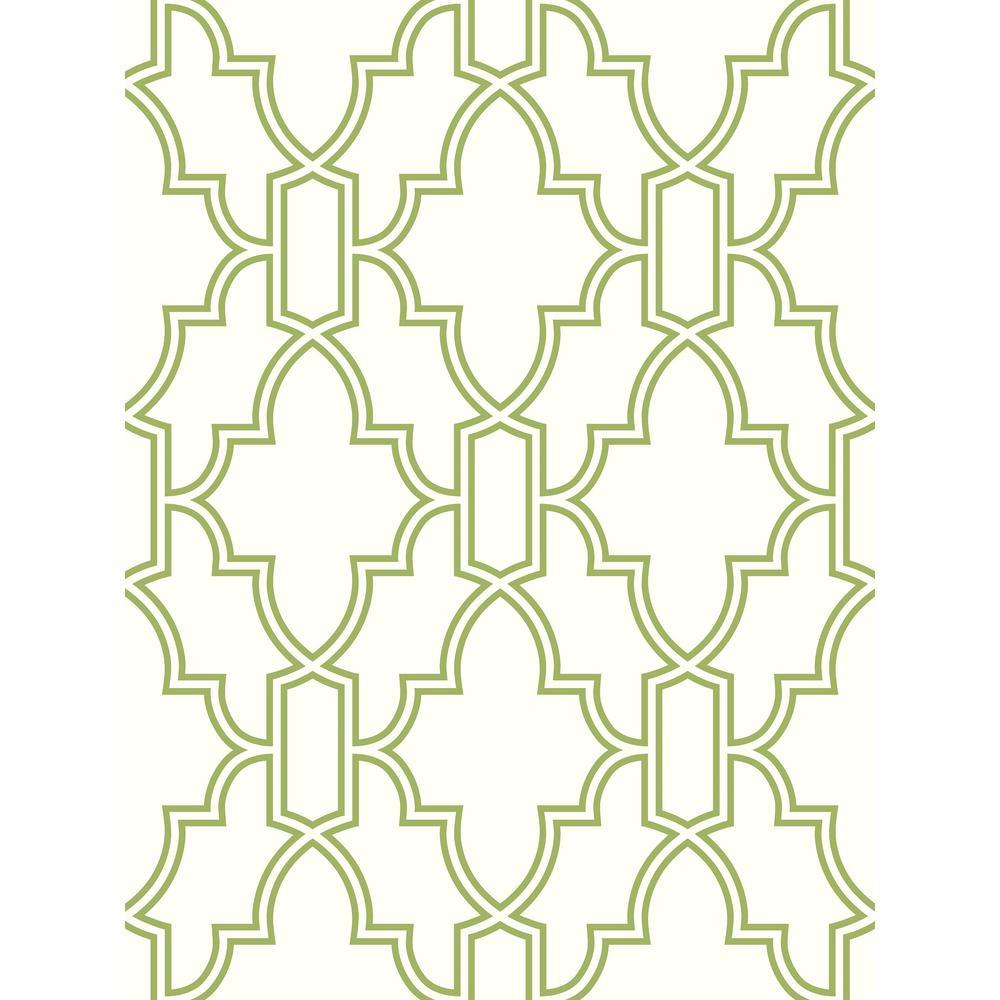 NextWall Green and White Tile Trellis Peel and Stick Wallpaper