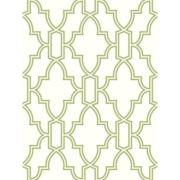 Green and White Tile Trellis Peel and Stick Wallpaper